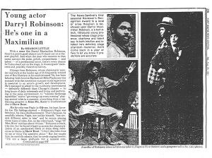 1981 Fort Wayne News-Sentinel Award for Outstanding Thespian of the Season bestowed upon Darryl Maximilian Robinson for his performances at Enchanted Hills Playhouse of Syracuse, Indiana..jpg