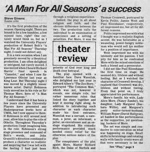 Nov. 1, 1984 UMSL Current Review of Darryl Maximilian Robinson as Sir Thomas More in A Man For All Seasons by Steve Givens..jpg