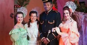 Michelle Reese as Edith Stanley, Jennifer Sperry as Mabel Stanley, Darryl Maximilian Robinson as Major-General Stanley and Kelsey Bullock as Kate Stanley in The Pirates of Penzance..jpg