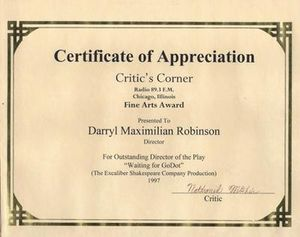 1998 WKKC Critic's Corner Fine Arts Award for Outstanding Director of A Play bestowed on Darryl Maximilian Robinson for ESC's Waiting for Godot..jpg