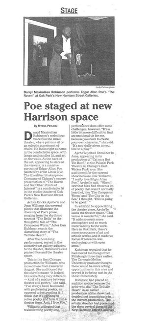 Nov. 24, 1999 Pioneer Press News Story of Darryl Maximilian Robinson as The Narrator in The Raven And Six Other Points of Interest by Edgar Allan Poe..jpg