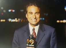 In Jersey City, with NYC in the background, preparing to go live on WWOR-TV UPN 9 News' 10-o'clock newscast. 2005.