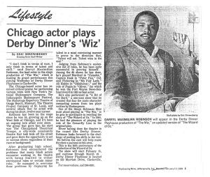 Feb. 13, 1989 Jeffersonville, Indiana Evening News Interview of Darryl Maximilian Robinson as The Wiz at Derby Dinner Playhouse..jpg
