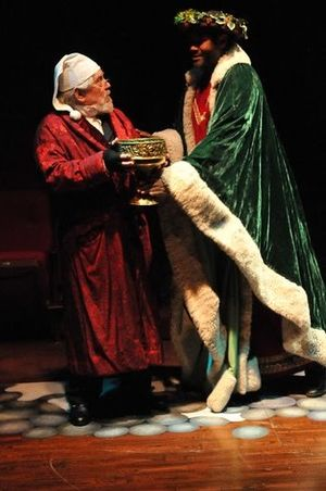 Mario Di Gregorio as Ebeneezer Scrooge and Darryl Maximilian Robinson as The Ghost of Christmas Present in the 2010 musical production of A Christmas Carol at Glendale Centre Theatre..jpg